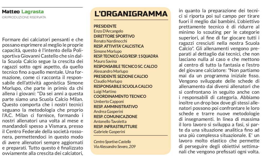 G.Castello calcio Gazzetta Regionale