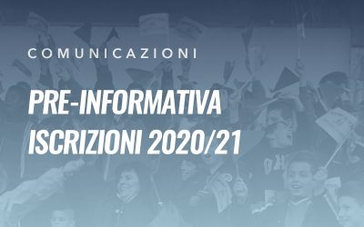 Pre-iscrizioni stagione sportiva 2020/21